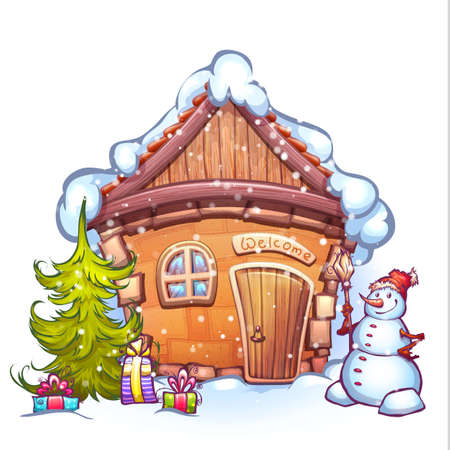 Vector illustration of winter cartoon home with snowman and firtree. Иллюстрация