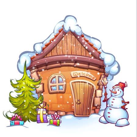 Vektor-Illustration der Winterkarikaturhaus mit Schneemann und Tannenbaum. Standard-Bild - 43475143