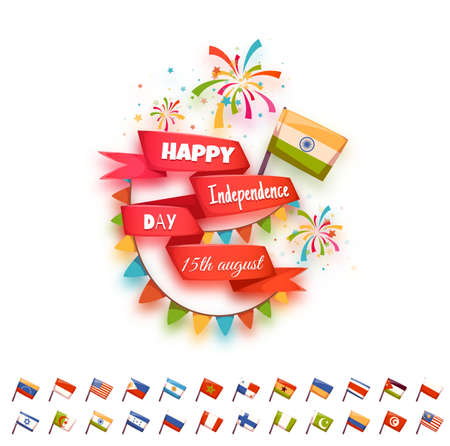 panama flag: Happy independence day banner for many country. Red ribbon with flag. Vector illustration.