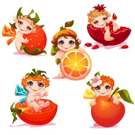 garnet: Sweet fairies with apple, orange, tomato and garnet.