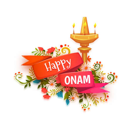 Happy Onam banner with flowers and lamp. Illustration