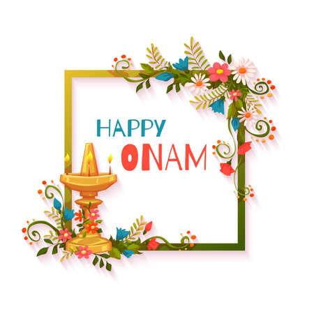 onam: Happy Onam banner with flowers and lamp. Illustration