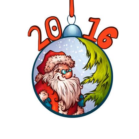 furtree: Santa Claus in fur-tree toy. 2016 Merry Christmas. Illustration