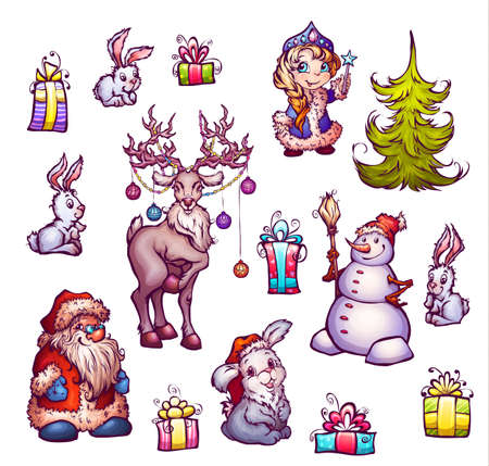 snow maiden: Set of New Year illustrations. Merry Christmas.