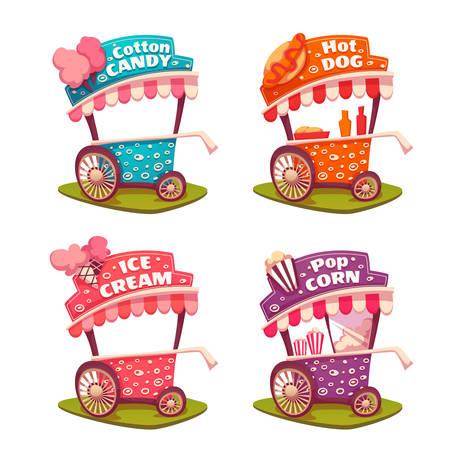 패스트 푸드 카트의 집합입니다. 아이스크림, 솜사탕, 팝 옥수수, 핫도그.