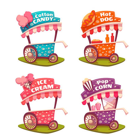 eating popcorn: Set of fast food carts. Icecream, cotton candy, pop corn, hotdog.