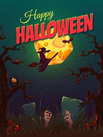 fiesta: Cartel del partido de Halloween con la bruja y la luna. Ilustraci�n del vector.