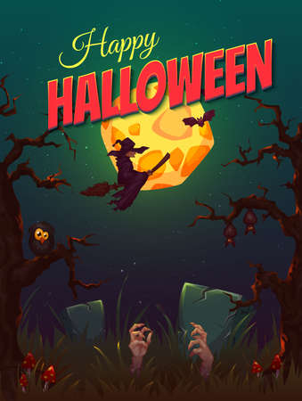 Halloween party poster with witch and moon. Vector illustration. Иллюстрация
