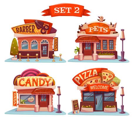 restaurants: Vector set of Cafe, restaurant, ice-cream shop and bakery.
