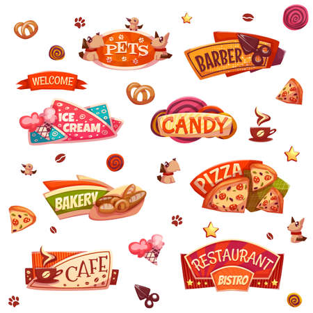 Vector set of brightly banners for market, shop and restaurant.