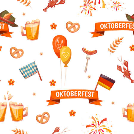 Seamless pattern with oktoberfest celebration symbols. Vector illustration. 矢量图像