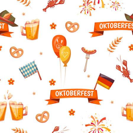 oktoberfest: Seamless pattern with oktoberfest celebration symbols. Vector illustration. Illustration
