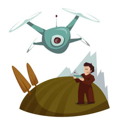 Dron met camera vliegen en de mens controle is. Vector illustratie.