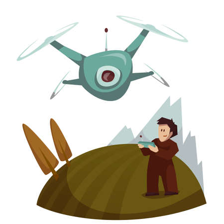 Dron with camera flying and man control it. Vector illustration.