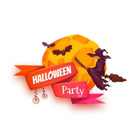 czarownica: Halloween Party banner z czarownica i księżyc.