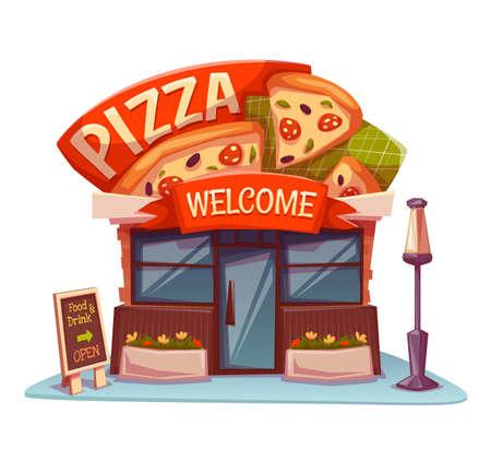 Pizzeria gebouw met heldere banner. Vector illustratie.