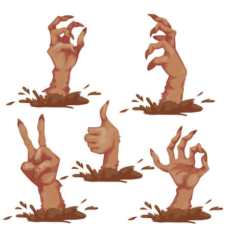 spooky graveyard: Set of zombie hands for Halloween Party. Vector illustration.