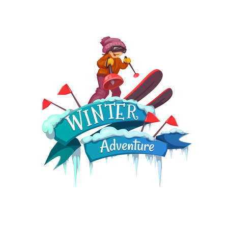 skis: Winter Adventure banner with ribbon and ski. Vector illustration. Illustration