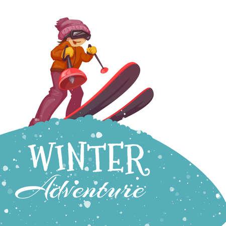 cute teen girl: Зимние приключения постер с лыжника девушки. Векторная иллюстрация.