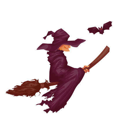 hag: Halloween witch with bat flying to party. Vector illustration. Illustration