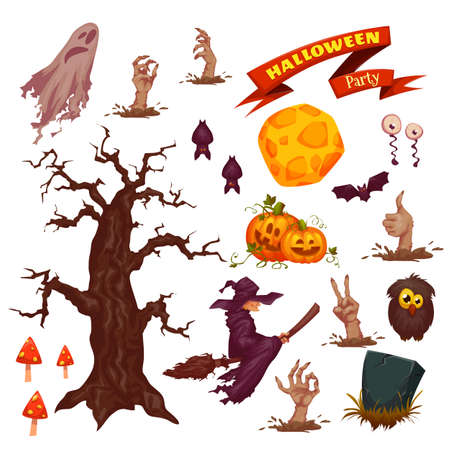 Halloween party icon set. Vector illustration. Holiday Vettoriali