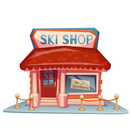 Ski shop building with bright banner. Vector illustration.