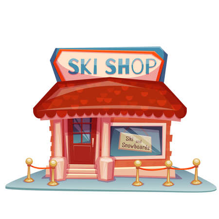 mount price: Ski shop building with bright banner. Vector illustration.