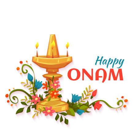 pookolam: Happy Onam banner with flowers and lamp. Illustration
