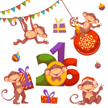 draw: Christmas vector set with monkey for 2016 New Year. Illustration