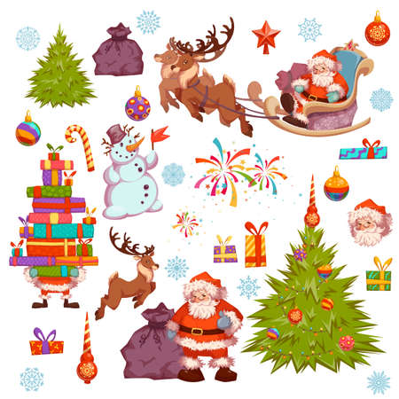 Merry Christmas icon set with Santa Claus, pine, snowman and other. Vector illustration. Vettoriali