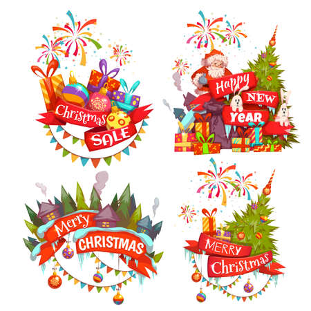 banger: Merry Christmas banner set with Santa Claus, ribbon and pine. Vector illustration. Illustration