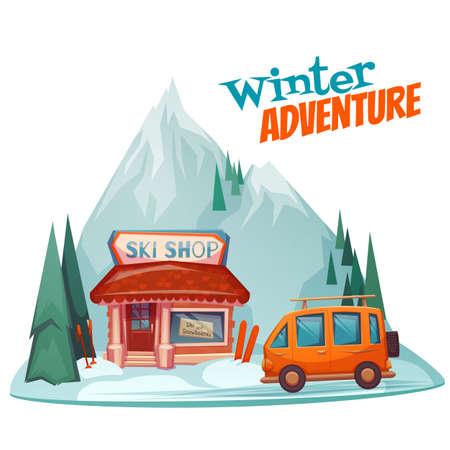 mount price: Winter adventure poster with ski shop. Vector illustration. Illustration