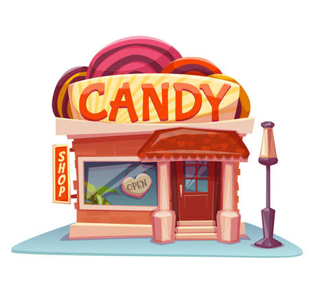 shop window: Candy shop building with bright banner. Vector illustration.