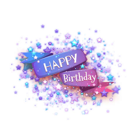 banger: Blue ribbon with Happy birthday title. Vector illustration.