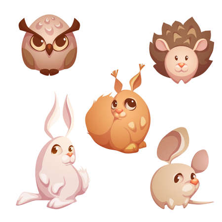 rata caricatura: Vector conjunto de animales lindos pequeño bosque.