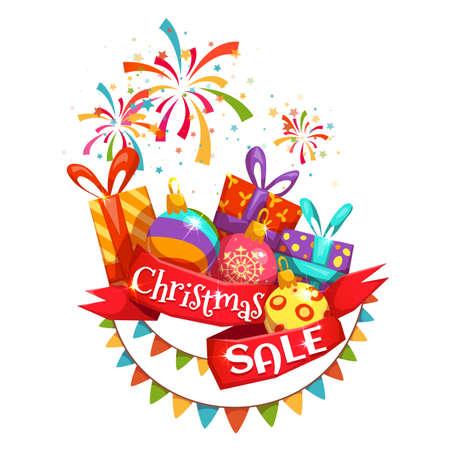 banger: Christmas sale banner with ribbon and firework. Vector illustration. Illustration