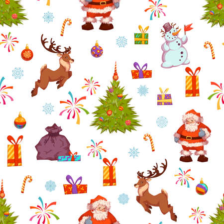 banger: Christmas seamless pattern with Santa, pine, deer and other.  Illustration