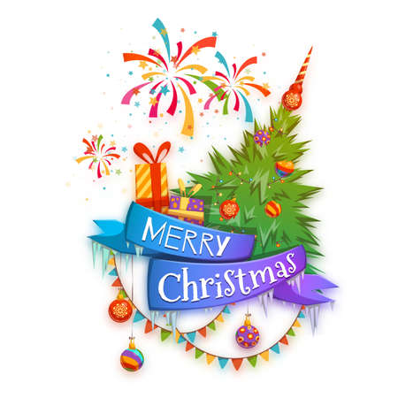 banger: Merry Christmas banner with pine, gifts and firework. Vector illustration.