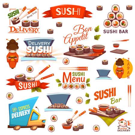 Vector set met sushi banners, iconen, logo's en illustraties.