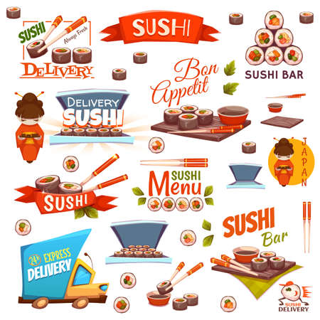 sushi chopsticks: Vector set with sushi banners, icons, logo and illustrations.