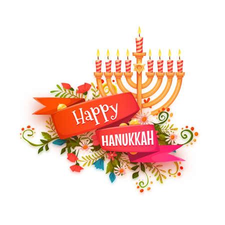 Gelukkige Hanukkah. Vector banner met lint en kaarsen.