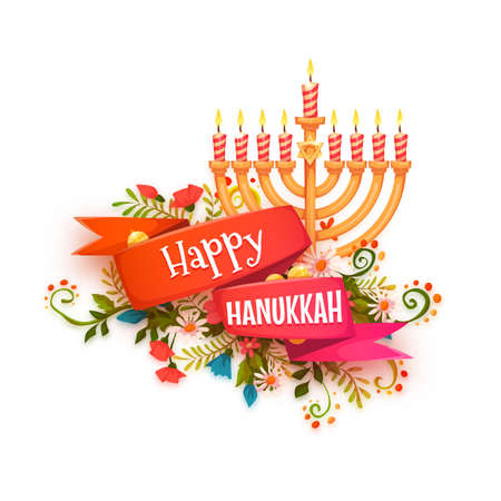 Happy hanukkah. Vector banner with ribbon and candles.
