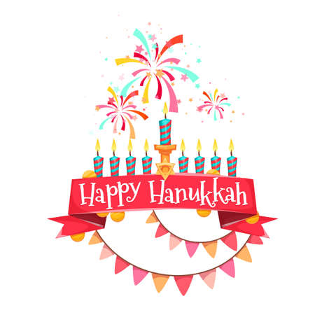 Hanukkah menorah with candles and coins. Vector illustration.
