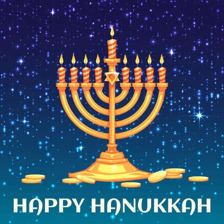 hanukkah menorah: Hanukkah menorah with candles and coins. Vector illustration.