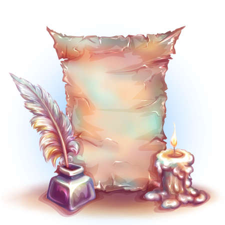 ilustration and painting: Vector banner with candle, money and feather. Illustration