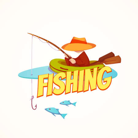 fish hook: Vector illustration of fisherman in the boat.