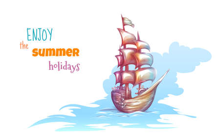 galley: Vector illustration of sail ship with sea.