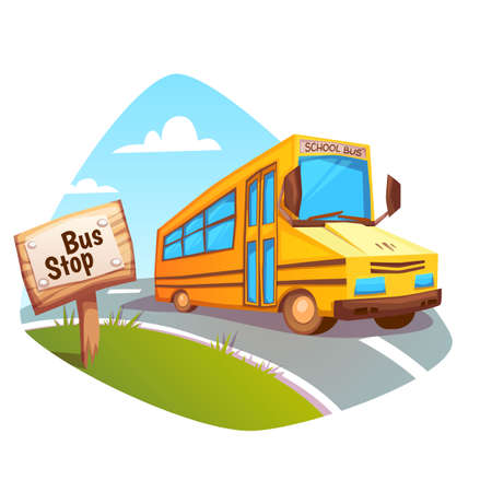 Vector illustration of school bus on background.