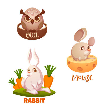 cartoon hare: Vector flat forest animals with some elements.