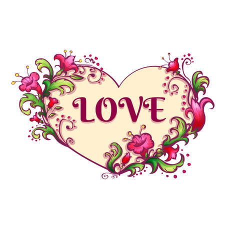 nobleness: Happy valentine day. Heart with flowers and love title. Vector illustration.
